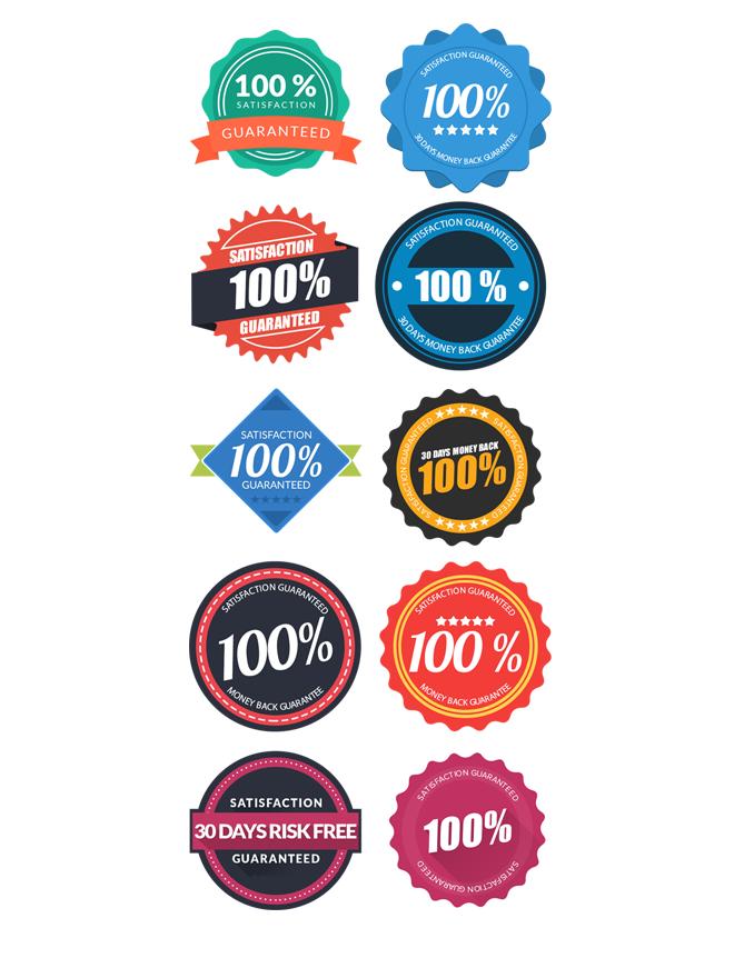模組#16 平面風格的保證徽章