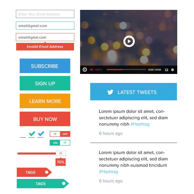 模組#28 平面風格UI Kit框架的用戶介面圖片1