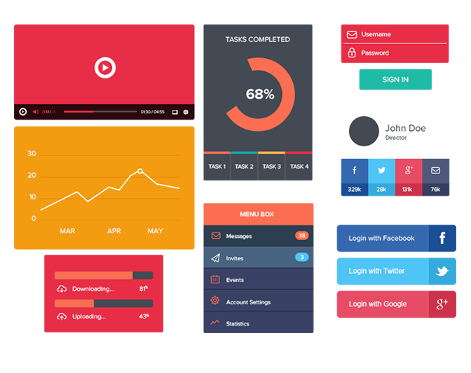 模組#30 平面風格UI Kit框架的用戶介面圖片3